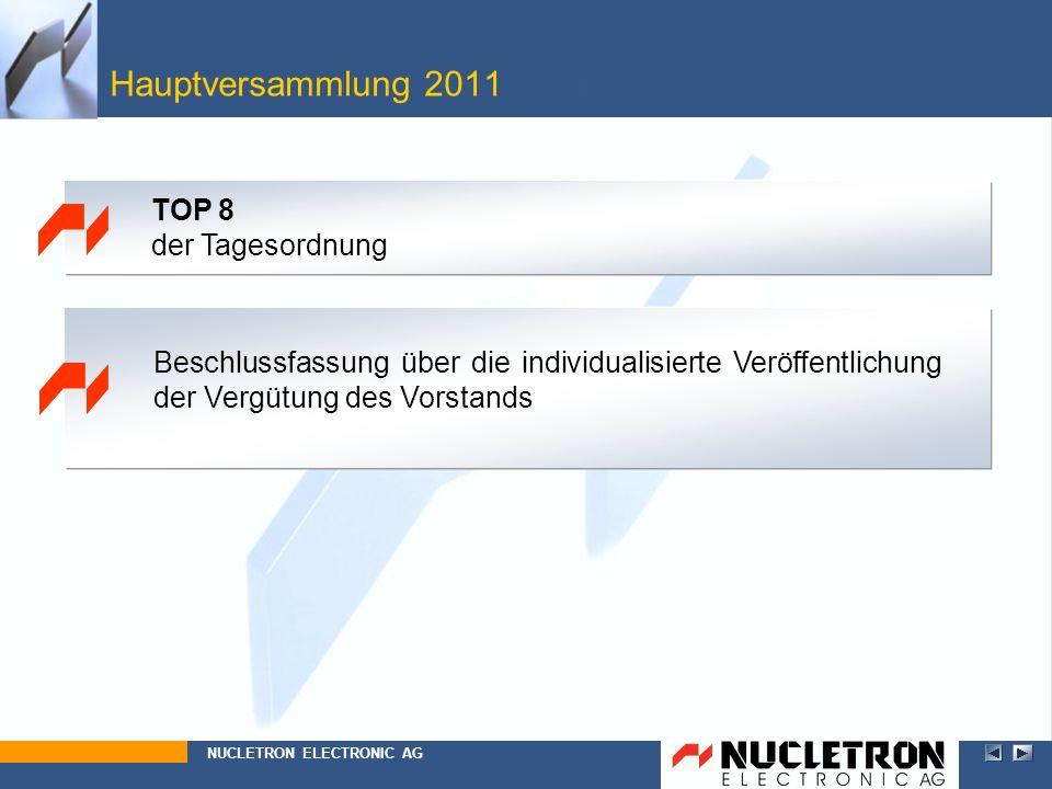 Hauptversammlung 2011 Top 8 TOP 8 der Tagesordnung