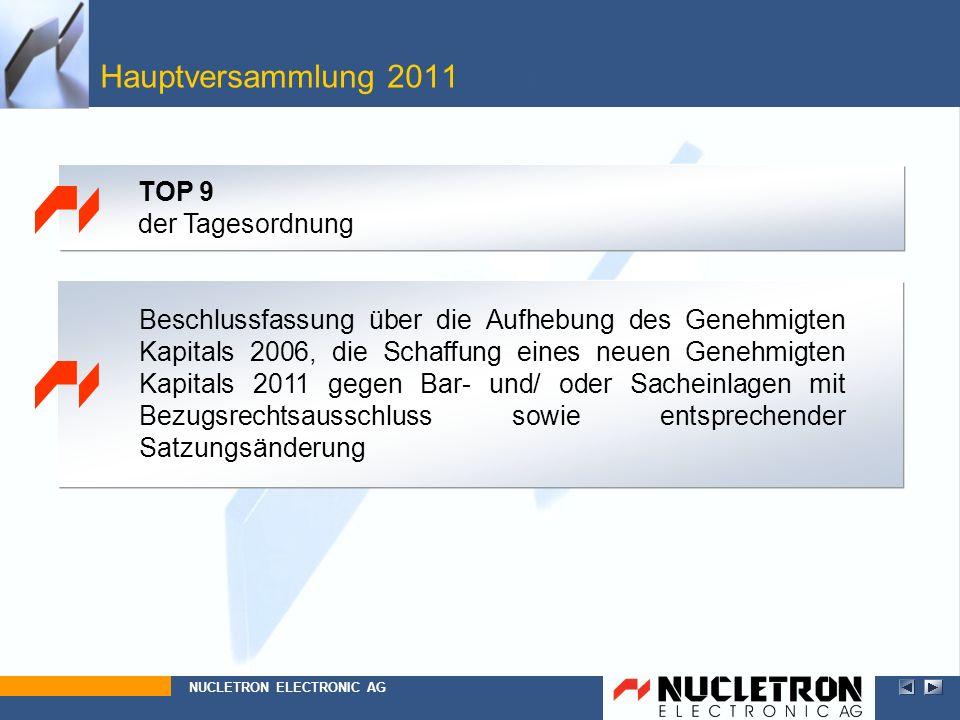 Hauptversammlung 2011 Top 9 TOP 9 der Tagesordnung