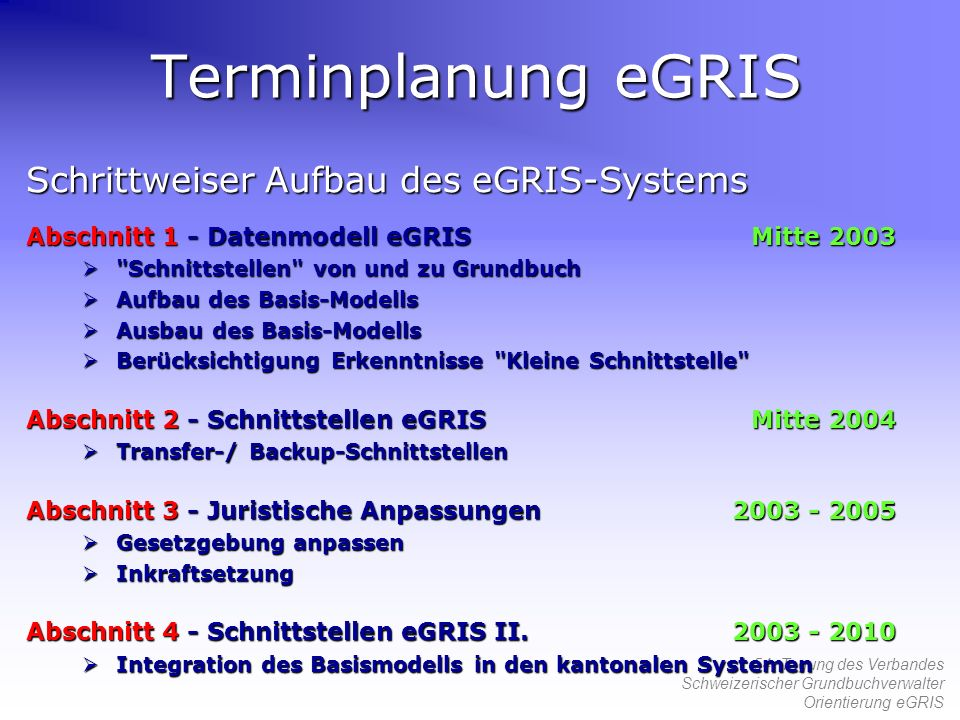 Terminplanung eGRIS Schrittweiser Aufbau des eGRIS-Systems