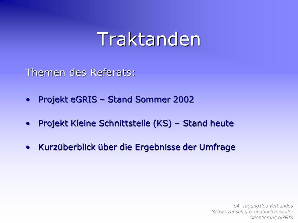 Traktanden Themen des Referats: Projekt eGRIS – Stand Sommer 2002