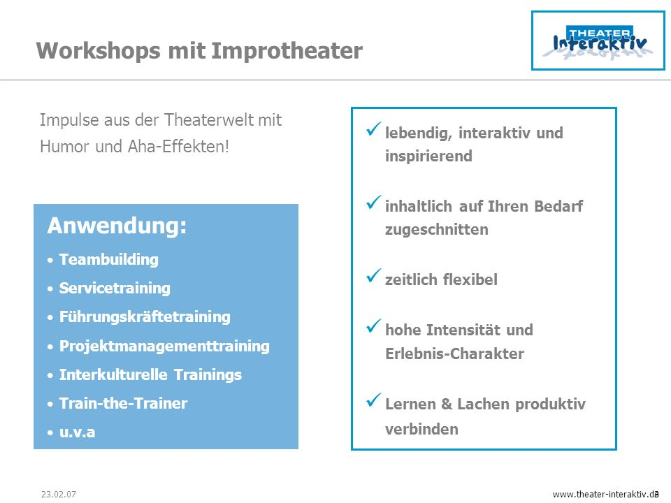 Workshops mit Improtheater