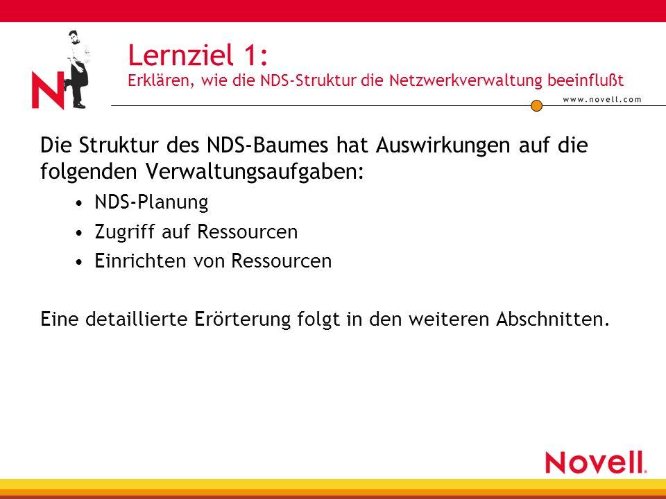 Lernziel 1: Erklären, wie die NDS-Struktur die Netzwerkverwaltung beeinflußt