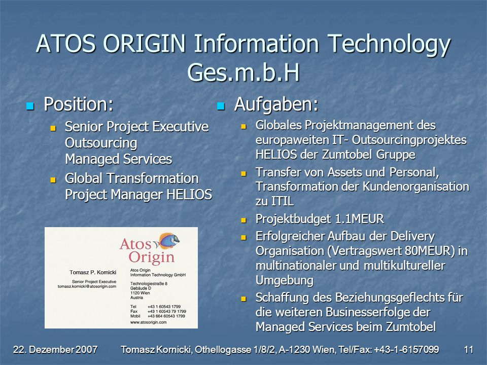 ATOS ORIGIN Information Technology Ges.m.b.H