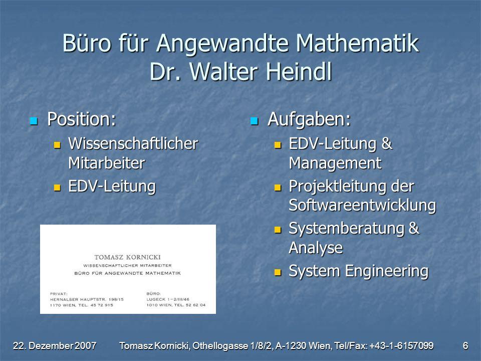 Büro für Angewandte Mathematik Dr. Walter Heindl