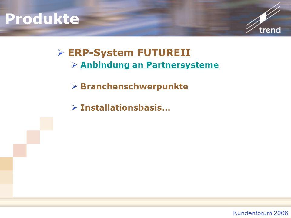 Produkte ERP-System FUTUREII Anbindung an Partnersysteme