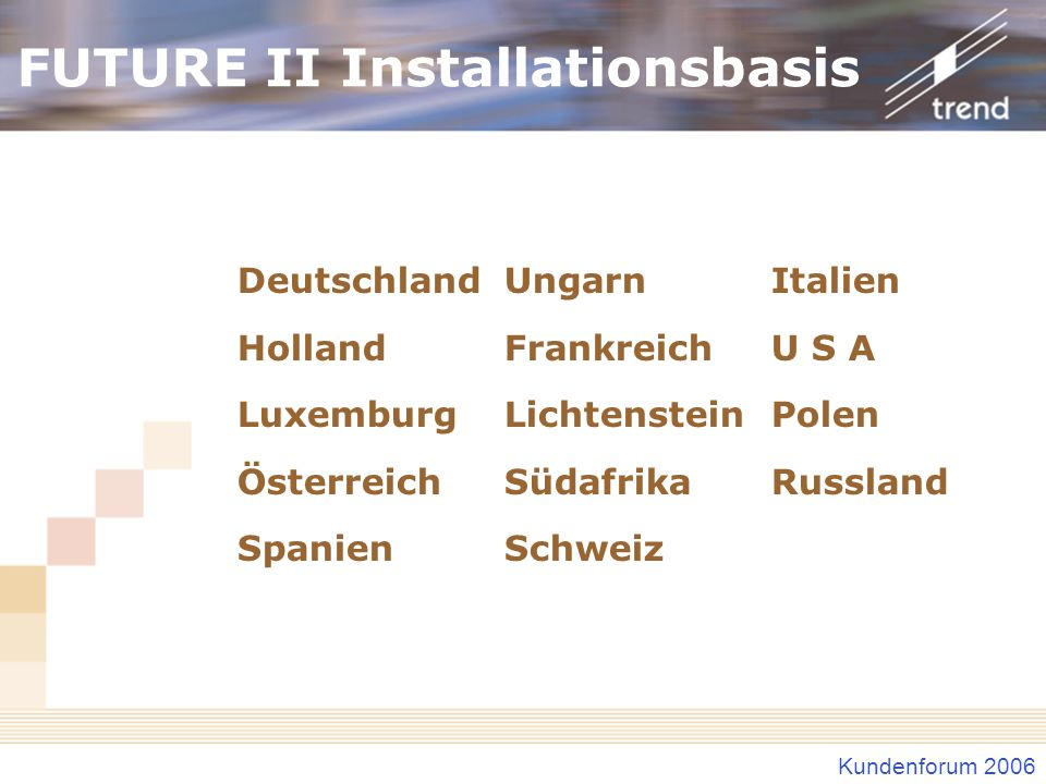 FUTURE II Installationsbasis