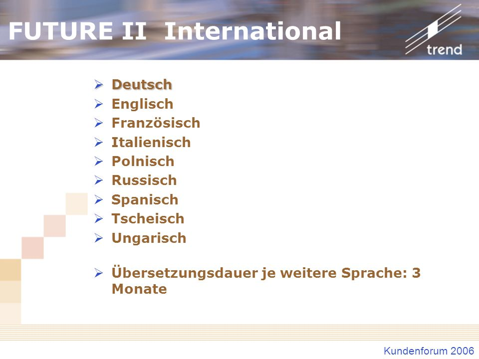 FUTURE II International