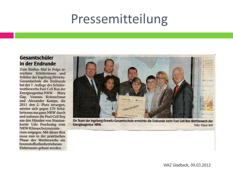 Pressemitteilung WAZ Gladbeck, 09.03.2012