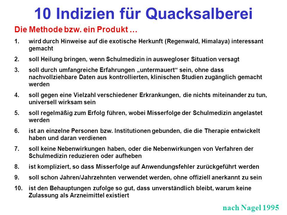 10 Indizien für Quacksalberei