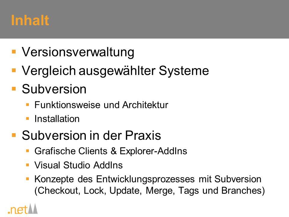 Inhalt Versionsverwaltung Vergleich ausgewählter Systeme Subversion
