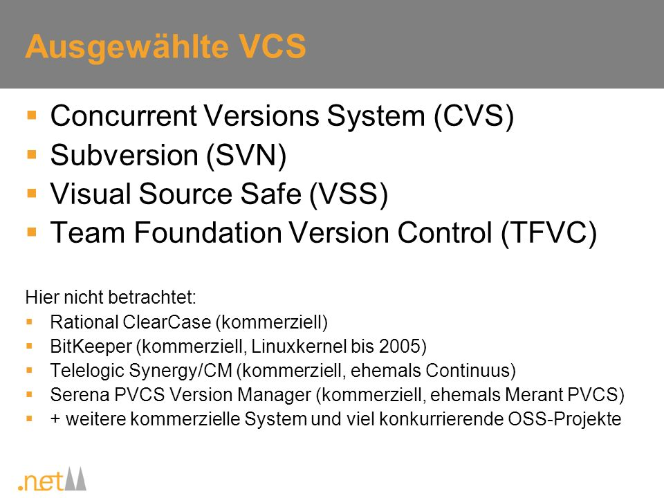 Ausgewählte VCS Concurrent Versions System (CVS) Subversion (SVN)