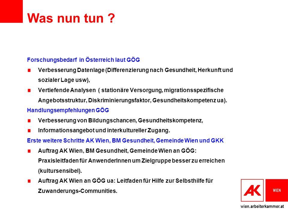 Was nun tun Forschungsbedarf in Österreich laut GÖG