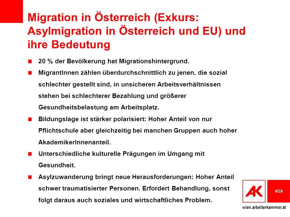 Migration in Österreich (Exkurs: Asylmigration in Österreich und EU) und ihre Bedeutung