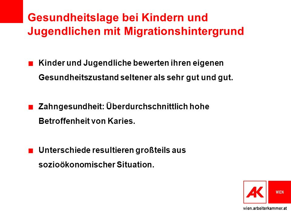 Gesundheitslage bei Kindern und Jugendlichen mit Migrationshintergrund