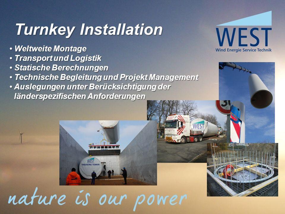 Turnkey Installation Weltweite Montage Transport und Logistik