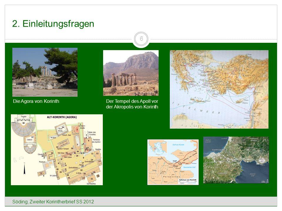 2. Einleitungsfragen Die Agora von Korinth