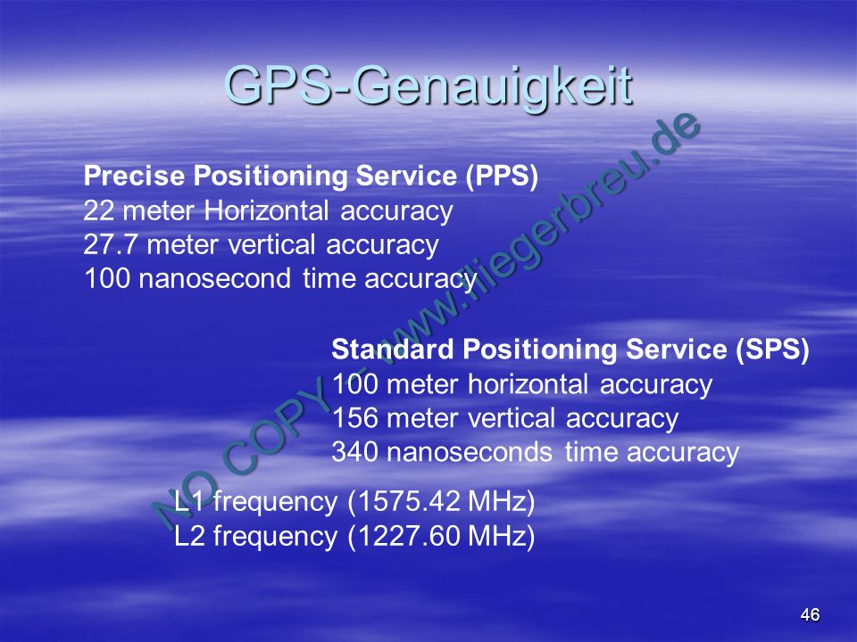 GPS-Genauigkeit Precise Positioning Service (PPS)
