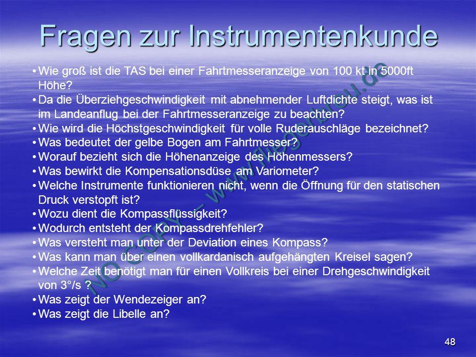 Fragen zur Instrumentenkunde
