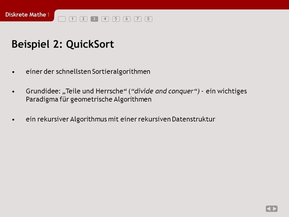 Beispiel 2: QuickSort einer der schnellsten Sortieralgorithmen