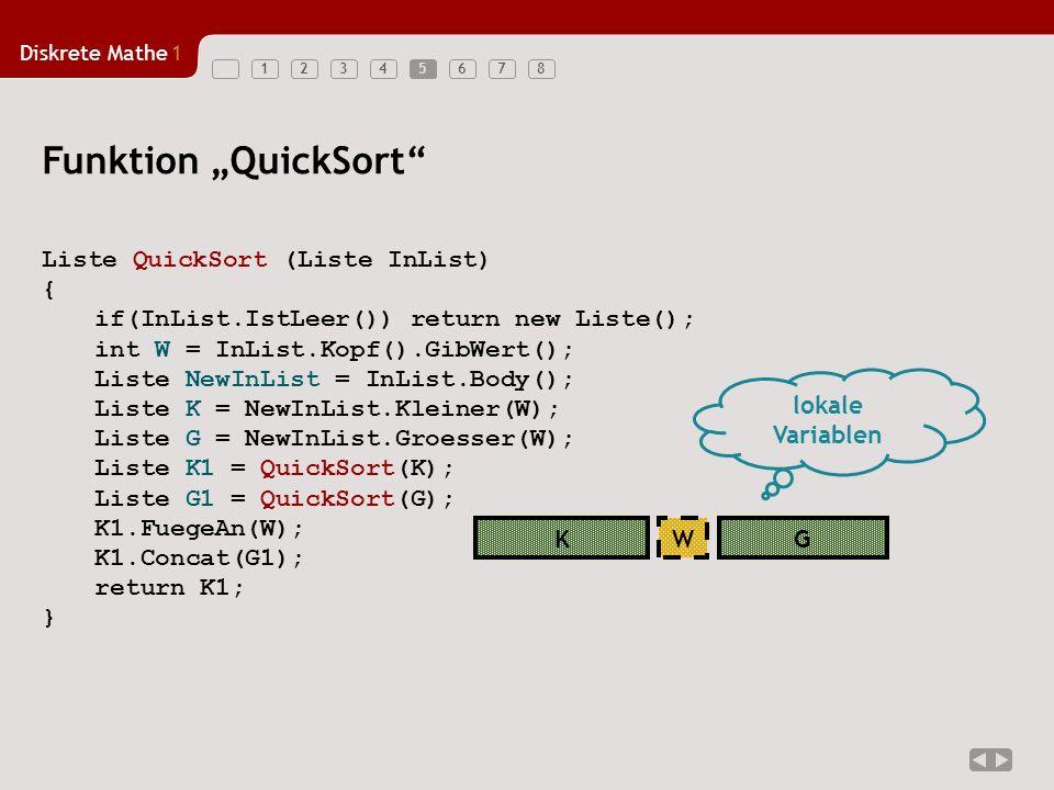 "Funktion ""QuickSort Liste QuickSort (Liste InList) {"