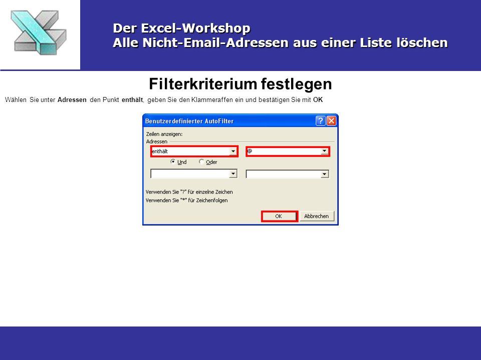 Filterkriterium festlegen