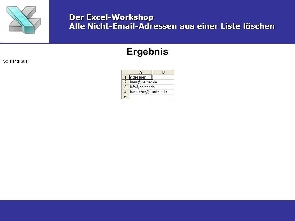 Ergebnis Der Excel-Workshop