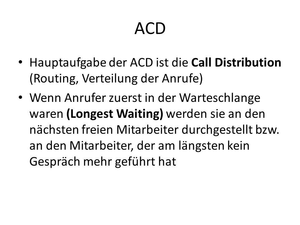 ACD Hauptaufgabe der ACD ist die Call Distribution (Routing, Verteilung der Anrufe)