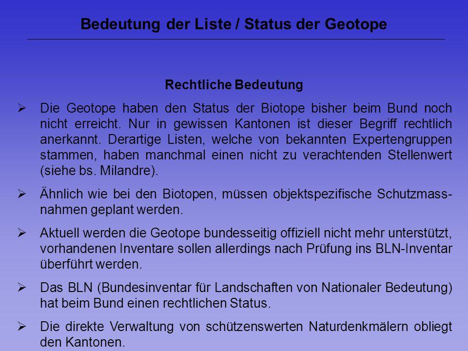 Bedeutung der Liste / Status der Geotope