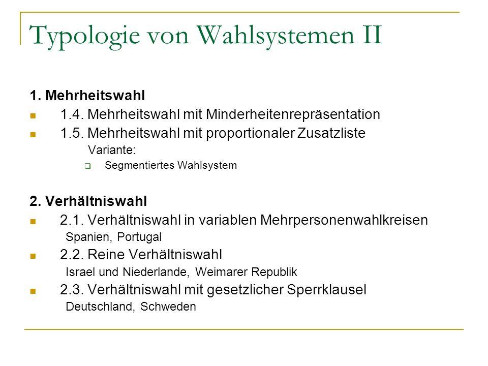Typologie von Wahlsystemen II