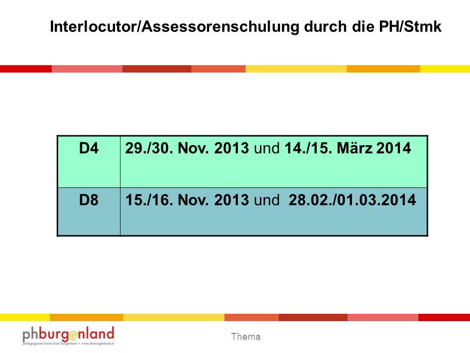 Interlocutor/Assessorenschulung durch die PH/Stmk