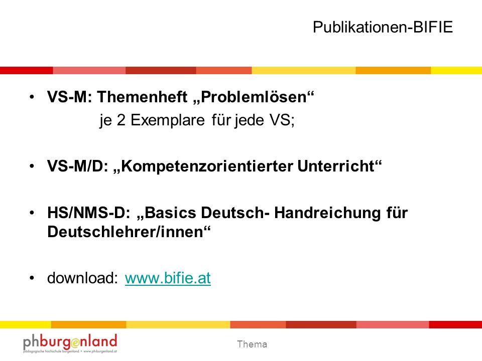 """Publikationen-BIFIEVS-M: Themenheft """"Problemlösen je 2 Exemplare für jede VS; VS-M/D: """"Kompetenzorientierter Unterricht"""