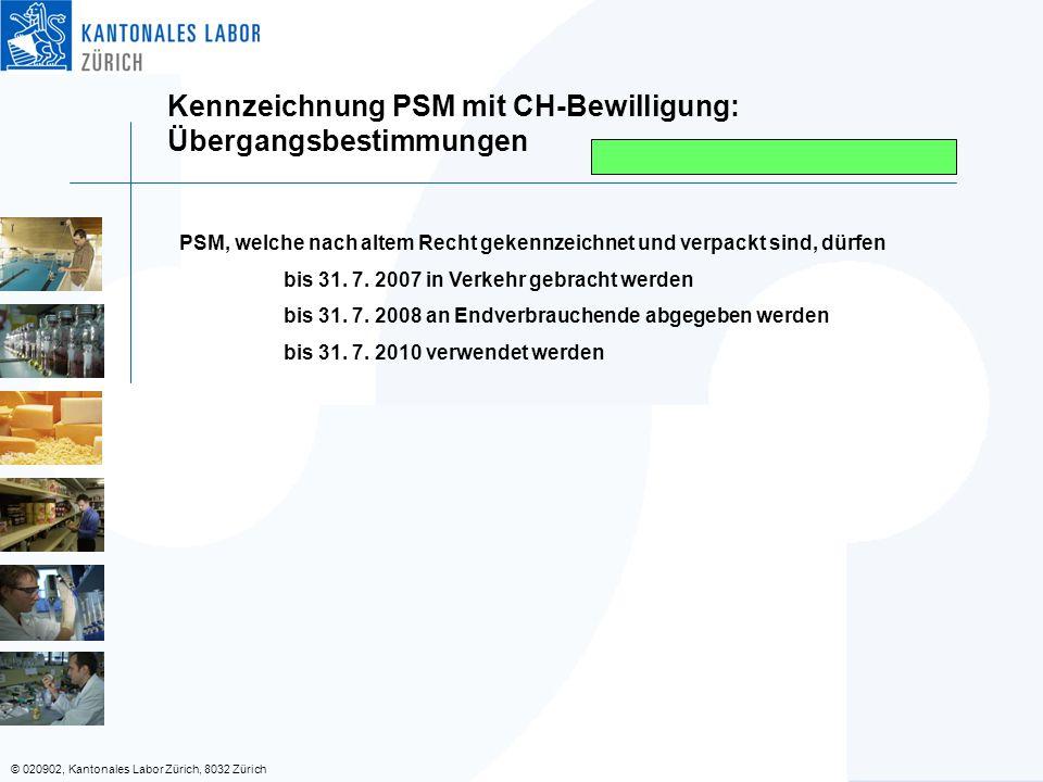 Kennzeichnung PSM mit CH-Bewilligung: Übergangsbestimmungen