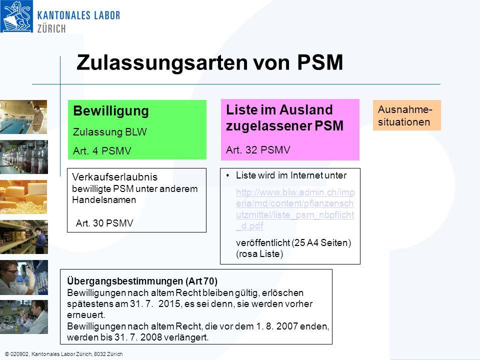 Zulassungsarten von PSM
