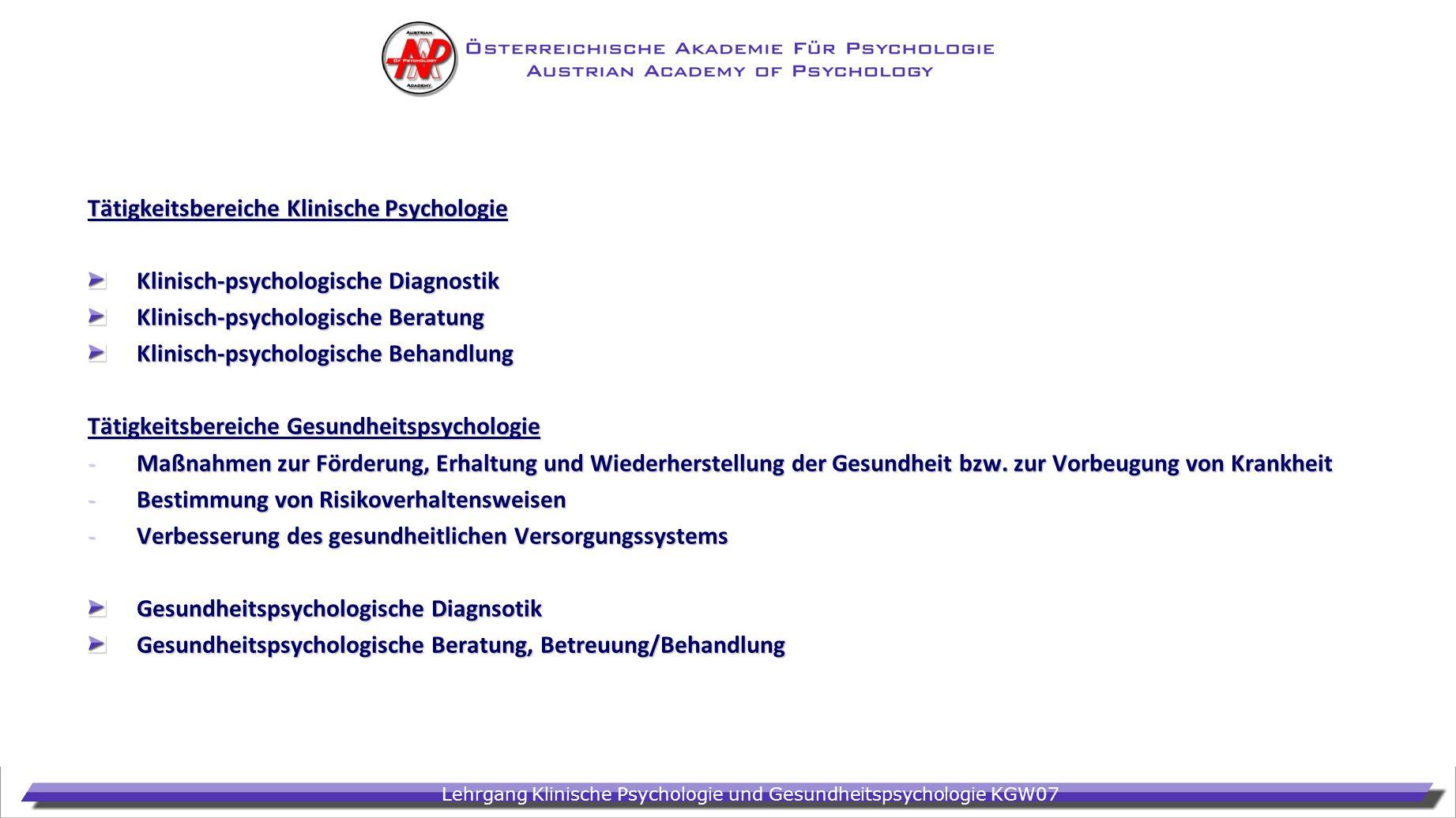 Tätigkeitsbereiche Klinische Psychologie