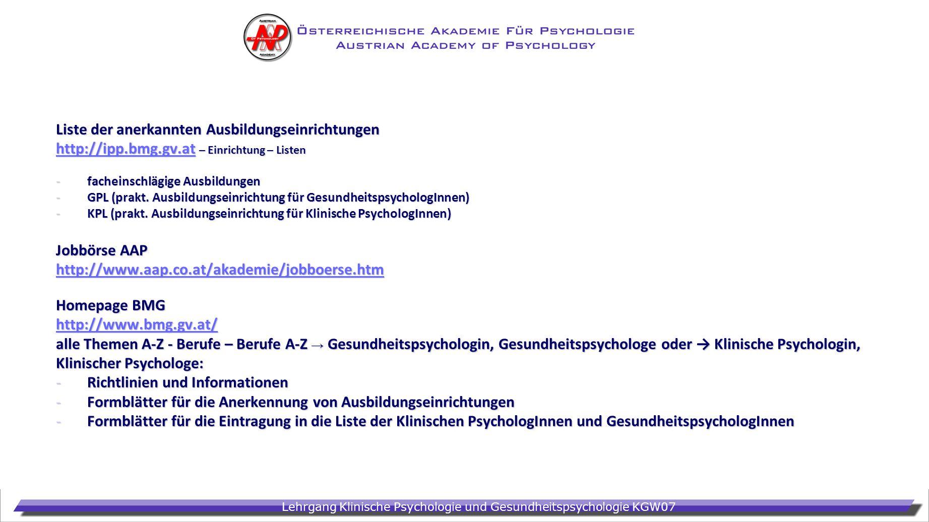 Liste der anerkannten Ausbildungseinrichtungen