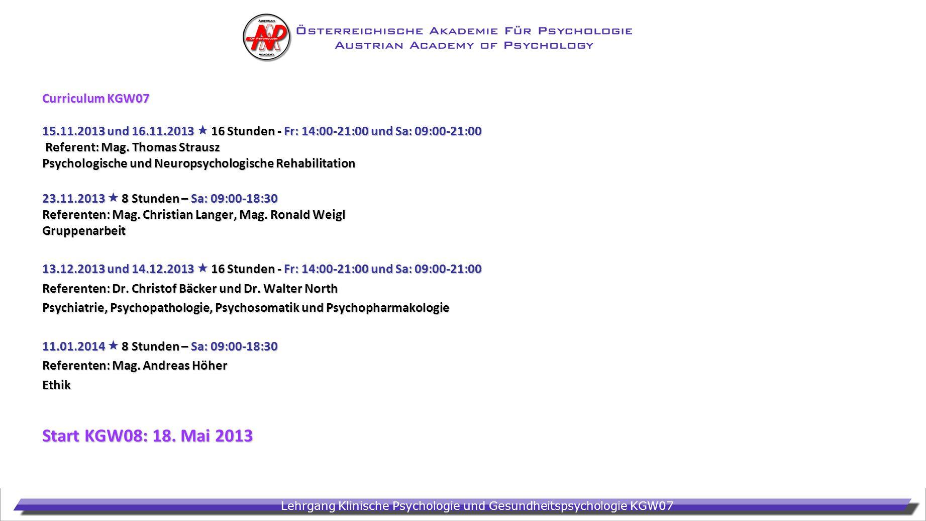 Start KGW08: 18. Mai 2013 Curriculum KGW07
