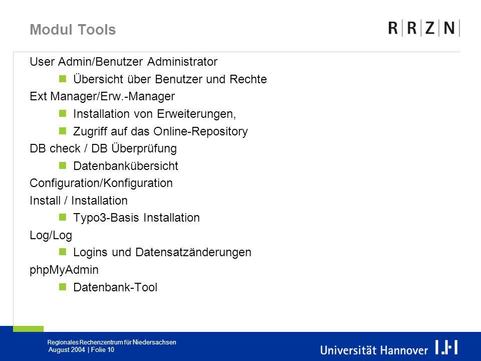 Modul Tools User Admin/Benutzer Administrator