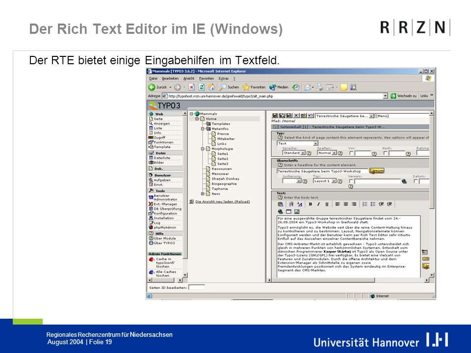 Der Rich Text Editor im IE (Windows)