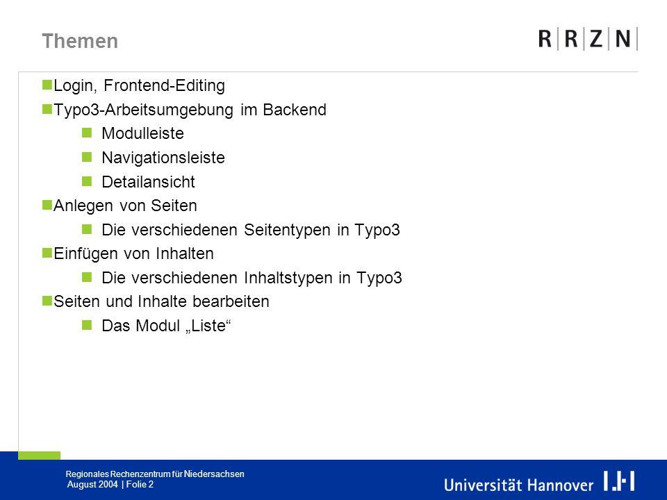Themen Login, Frontend-Editing Typo3-Arbeitsumgebung im Backend