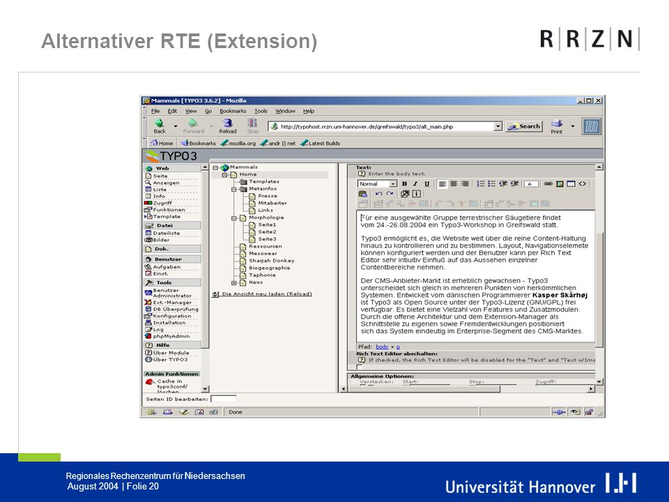 Alternativer RTE (Extension)