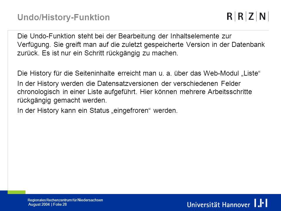 Undo/History-Funktion