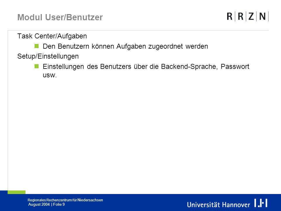 Modul User/Benutzer Task Center/Aufgaben