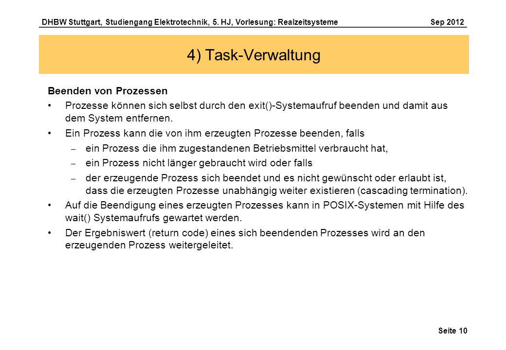 4) Task-Verwaltung Beenden von Prozessen