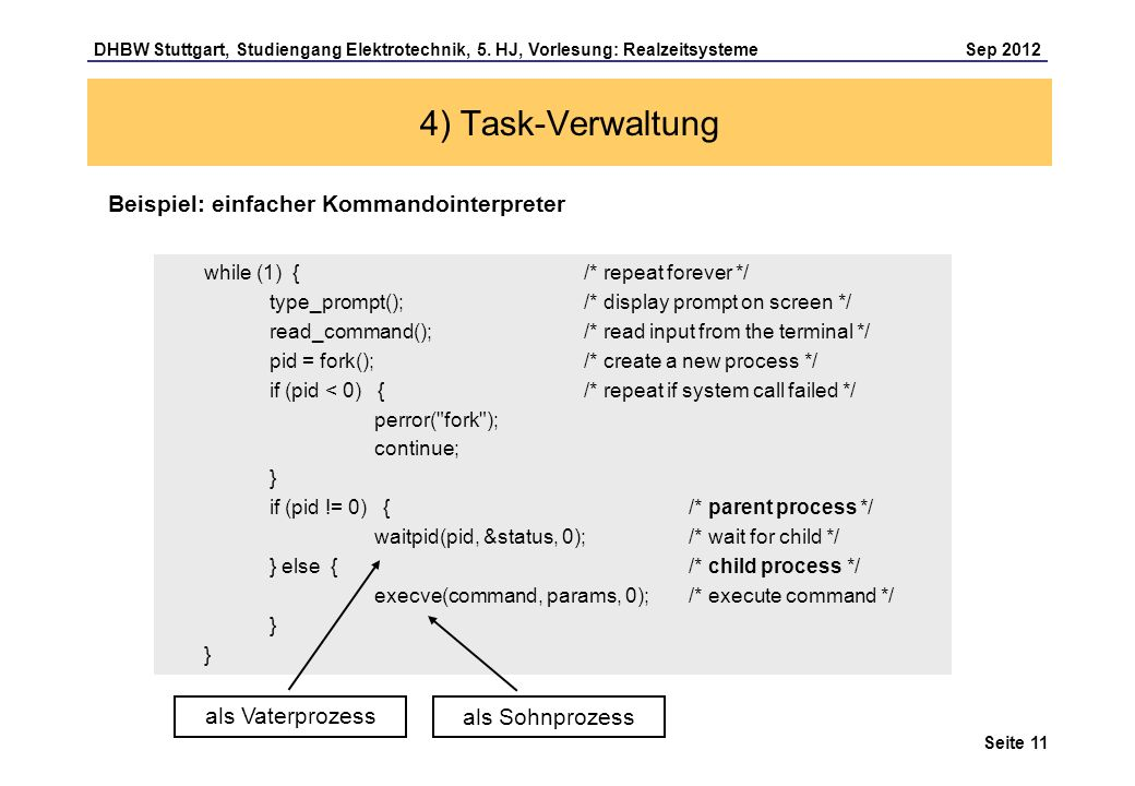 4) Task-Verwaltung Beispiel: einfacher Kommandointerpreter