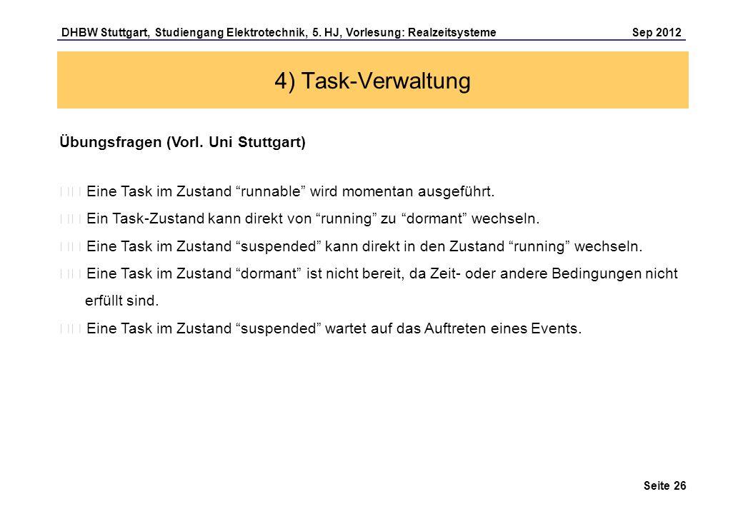 4) Task-Verwaltung Übungsfragen (Vorl. Uni Stuttgart)