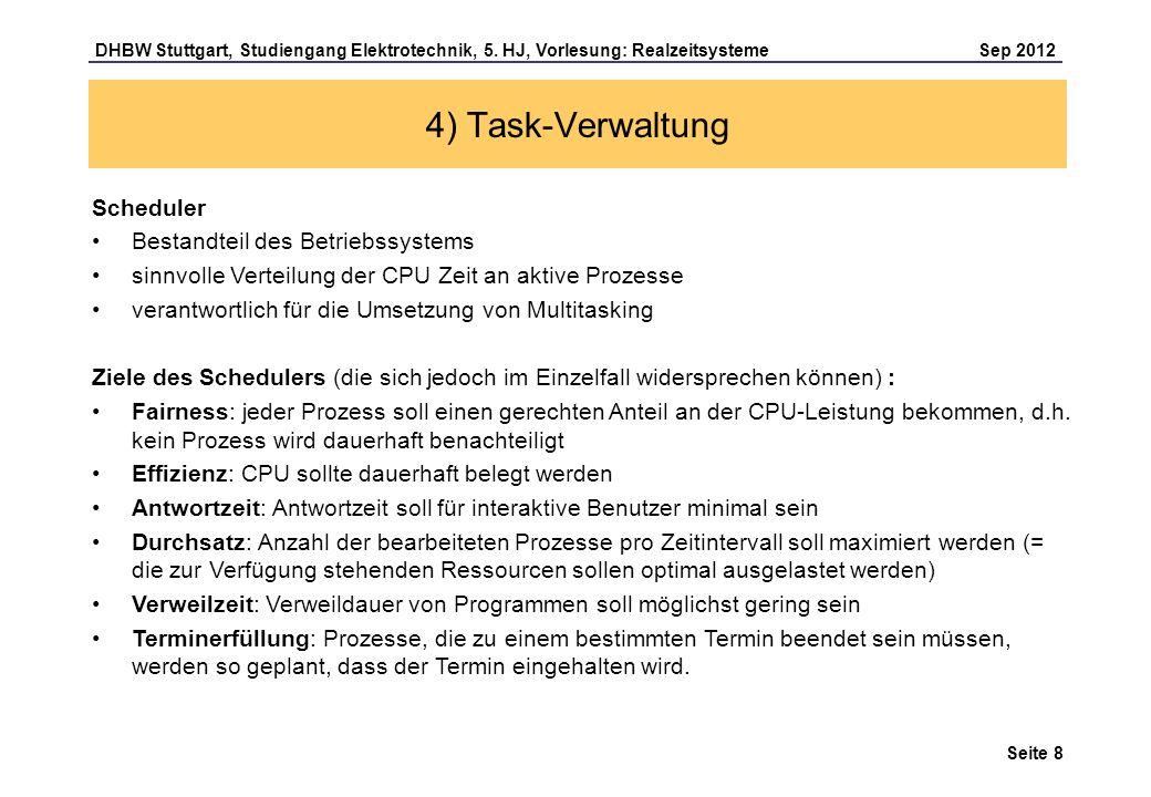 4) Task-Verwaltung Scheduler Bestandteil des Betriebssystems