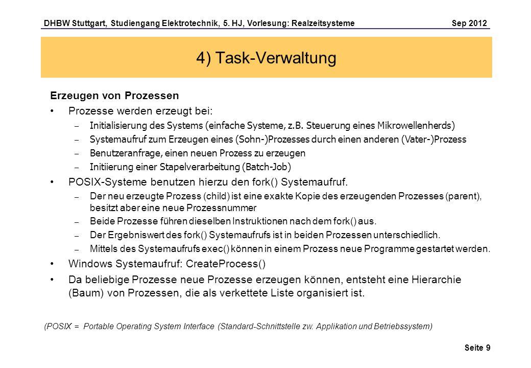 4) Task-Verwaltung Erzeugen von Prozessen Prozesse werden erzeugt bei: