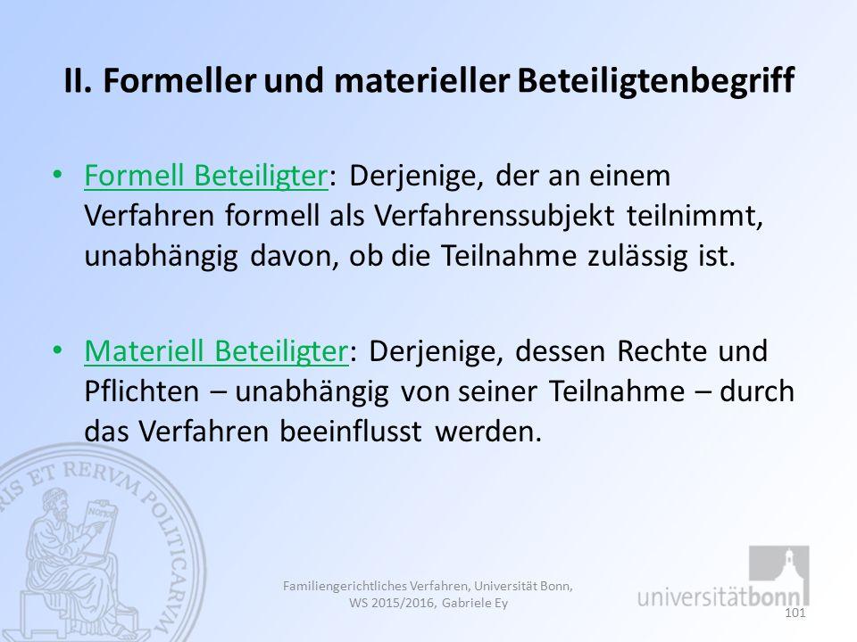 II. Formeller und materieller Beteiligtenbegriff