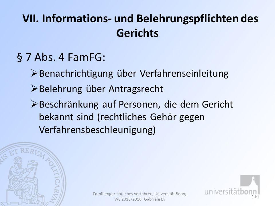 VII. Informations- und Belehrungspflichten des Gerichts