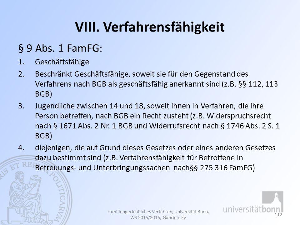 VIII. Verfahrensfähigkeit